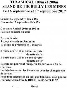 tir amical Loisir 16 et 17 septembre 2017